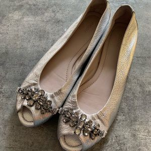 """Nicole silver leather """"Happy Day"""" flats w/jewels"""